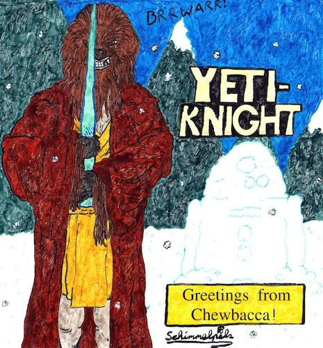Cartoon: Yeti Knight (medium) by Schimmelpelz-pilz tagged star,wars,chewbacca,chewi,yeti,jedi,knight,science,fiction,fan,movie,ice,snow,r2d2,robot,mountain,robe,hairy,furry,creature,monster,alien,fangs