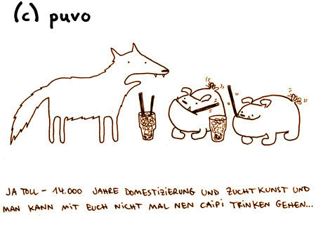 Cartoon: Domestizierung. (medium) by puvo tagged hund,dog,bulldogge,bulldog,wolf,domestizierung,domestication,breed,zucht,cocktail
