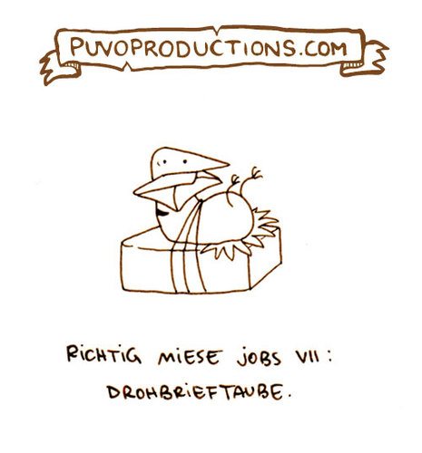 Cartoon: Drohbrieftaube. (medium) by puvo tagged taube,dove,brief,mail,post,letter,drohbrief,job,arbeit,mies