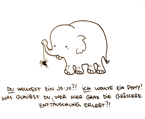 Cartoon: Jojo. (medium) by puvo tagged jojo,elefant,elephant,spider,spinne,geburtstag,enttäuschung,birthday,disappointmend,pony,play,spielen,spiel