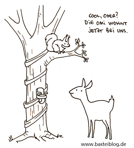 Cartoon: Omi (medium) by puvo tagged eichhörnchen,squirrel,reh,deer,wald,wood,oma,grandma,grandmother,großmutter,alter,lifta,treppenlift,elevator,baum,tree
