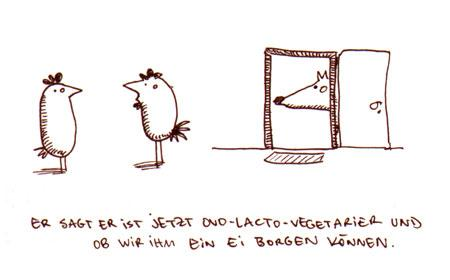 Cartoon: Ovolactovegetarier. (medium) by puvo tagged vegetarier,ei,nachbar,borgen,ovo,lacto,fuchs,huhn,hahn