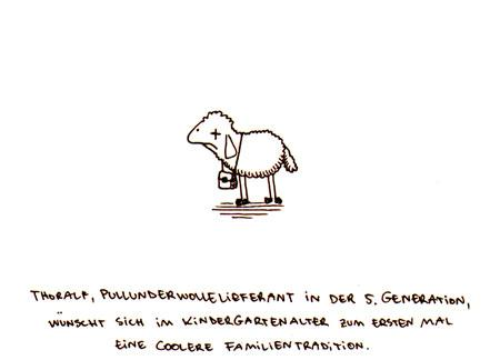Cartoon: Pullunder. (medium) by puvo tagged schaf,sheep,pullunder,tradition,familie,kindergarten,kindergarden,family