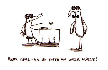 Cartoon: Suppe an Fliege. (medium) by puvo tagged suppe,fliege,fly,soup,kellner,waiter,restaurant,bestellen,order