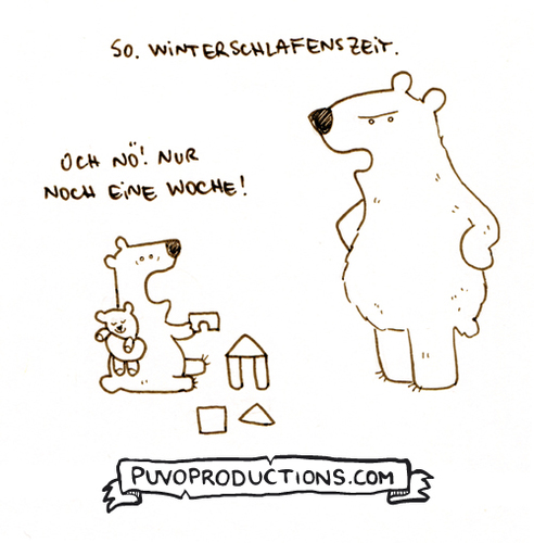 Cartoon: Winterschlafenszeit (medium) by puvo tagged winter,sleep,winterschlaf,bär,kind,eltern,erziehung,schlafenszeit,education,child,parents,bed,time