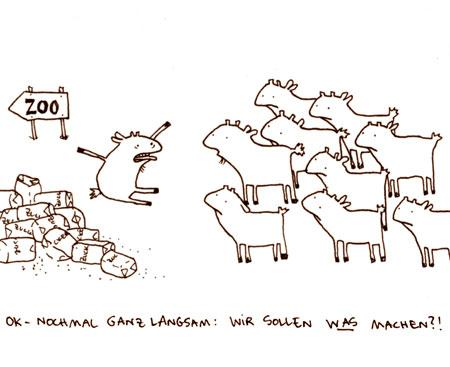 Cartoon: Zehn zahme Ziegen. (medium) by puvo tagged zungenbrecher,zoo,ziege,zucker