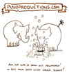 Cartoon: Abwaschen. (small) by puvo tagged abwaschen,wash,dishes,elephant,elefant,ehe,marriage,streit,hausarbeit,work,home,argument,couple,paar