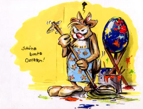 Cartoon: schöne bunte ostern (medium) by lowart tagged aufwischen