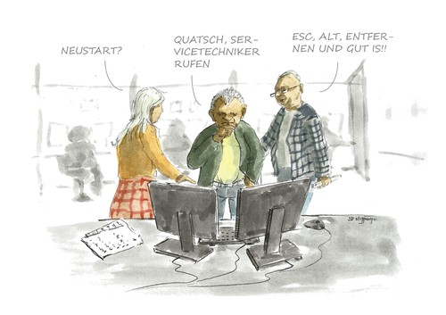 Cartoon: Die Expertenrunde (medium) by JORI tagged experten,meinung,diskussion,qualifikation,call,center,problemlösung,technik,pc,arbeitsplatz,niggemeyer,joricartoon,cartoon,karikatur