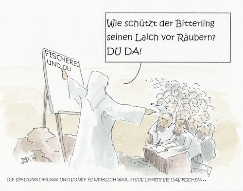 Cartoon: Die Speisung der 5000 (medium) by JORI tagged fisch,brot,jesus,jünger,bibel,bedürftigkeit,armut,lehre,fischerei,bäckerei,welthunger