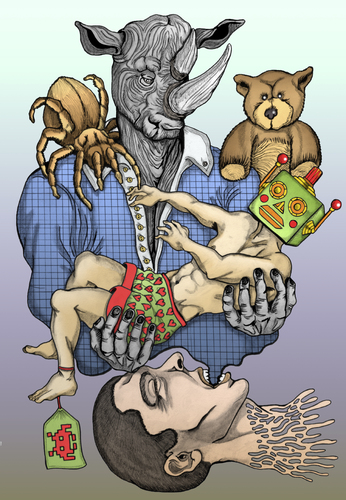 Cartoon: Total submission... (medium) by javierhammad tagged illustration,color,draw,surreal,rhino,robot,bear,tarantula,dream,monster,nightmare,illustration,surreal,mensch,maschine,roboter,technik,tier,tiere
