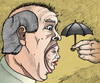 Cartoon: Screaming heads protection (small) by javierhammad tagged surreal heads scream umbrella protection