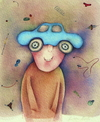 Cartoon: thought (small) by Riina Maido tagged car,hat