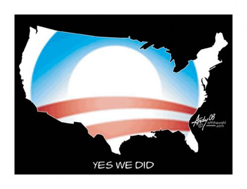 Cartoon: Yes We Did (medium) by offthewahltoons tagged andrew,wahl,president,barack,obama,election,2008