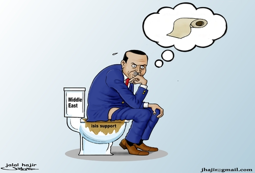 Cartoon: Erdugan the thinker ... (medium) by jalal hajir tagged isis,erdugan