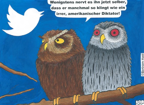 Cartoon: Ausgezwitschert (medium) by BAES tagged politik,usa,präsident,donald,trump,twitter,fake,vogel,cartoon,lüge,fakten,politik,usa,präsident,donald,trump,twitter,fake,vogel,cartoon,lüge,fakten