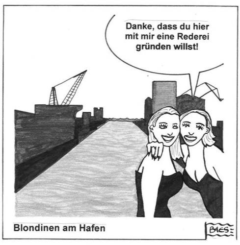 Cartoon: Blondinen am Hafen (medium) by BAES tagged frau,frauen,blondinen,hafen,reederei,reden,freundinnen