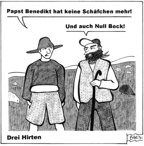 Cartoon: Drei Hirten (medium) by BAES tagged ratzinger,papstrücktritt,benedikt,vatikan,katholische,kirche,ratzinger,papstrücktritt,benedikt,vatikan,katholische,kirche