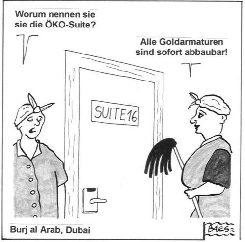 Cartoon: ÖKO Suite (medium) by BAES tagged putzfrau,frauen,suite,hotel,dubai,öko