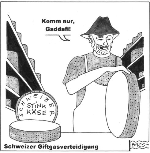 Cartoon: Schweizer Giftgasverteidigung (medium) by BAES tagged gaddafi,schweiz,boykott,minarette,libyen,dschihad,islam,muslime,heiliger,krieg,käse,eidgenossen,gaddafi,boykott,minarette,libyen,dschihad,islam,muslime,heiliger,krieg,käse,eidgenossen