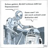 Cartoon: Star Wars backstage (small) by BAES tagged star,wars,film,kino,roboter,r2d2,c3po,depressionen,krankheit