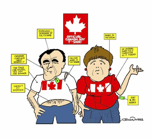 Cartoon: Canada T-Shirt (medium) by JohnnyCartoons tagged canada