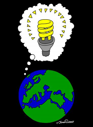 Cartoon: Fluorescent Earth (medium) by JohnnyCartoons tagged cartoon