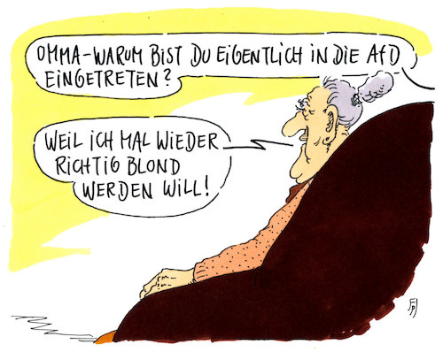 Cartoon: afd-oma (medium) by Andreas Prüstel tagged afd,nationalismus,deutschtum,ausländerfeindlichkeit,rassismus,cartoon,karikatur,andreas,prüstel,afd,nationalismus,deutschtum,ausländerfeindlichkeit,rassismus,cartoon,karikatur,andreas,prüstel