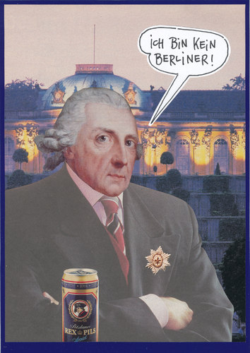 Cartoon: alter fritz (medium) by Andreas Prüstel tagged friedrich2,friedrichdergroße,alterfritz,potsdam,sanssouci,bier,pils