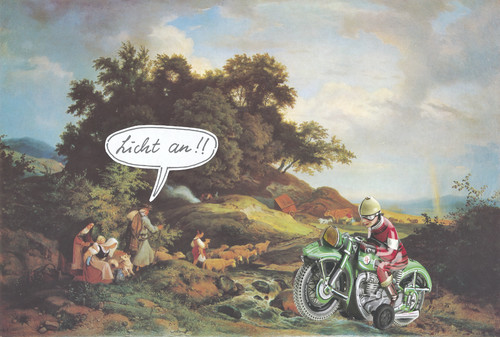 Cartoon: das ende der romantik (medium) by Andreas Prüstel tagged romantik,malerei,ludwig,richter,blechspielzeug,motorrad,collage,romantik,malerei,ludwig,richter,blechspielzeug,motorrad,collage