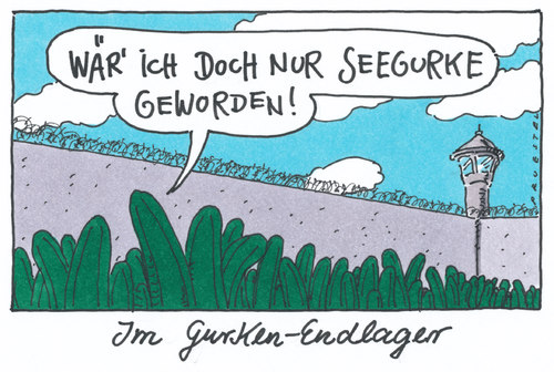 Cartoon: endlager (medium) by Andreas Prüstel tagged ehec,infektion,salatgurken,endlager,seegurke,ehec,infektion,endlager,salatgurken,seegurke