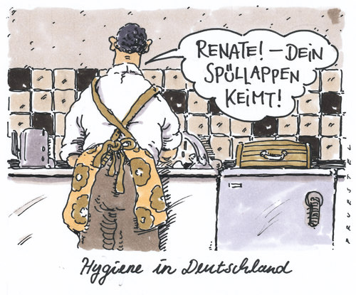 Cartoon: hygiene (medium) by Andreas Prüstel tagged ehec,infektion,keime,küche,ehec,infektion,keime,küche