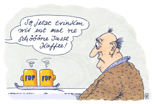Cartoon: kaffeezeit (medium) by Andreas Prüstel tagged fdp,abneigung,kaffee,fdp,abneigung,kaffee