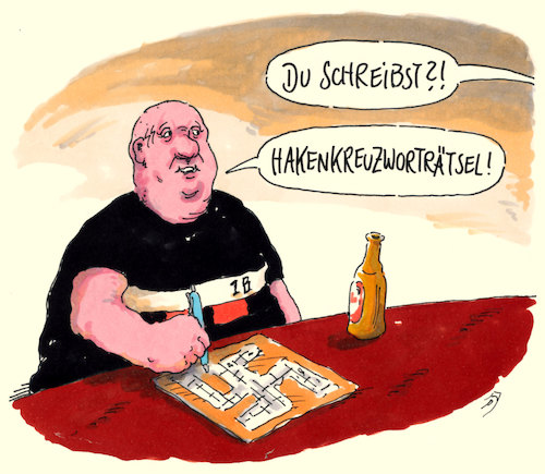 Cartoon: kreuzworträtsel (medium) by Andreas Prüstel tagged neonazi,rechtsradikaler,kreuzworträtsel,hakenkreuz,cartoon,karikatur,andreas,pruestel,neonazi,rechtsradikaler,kreuzworträtsel,hakenkreuz,cartoon,karikatur,andreas,pruestel