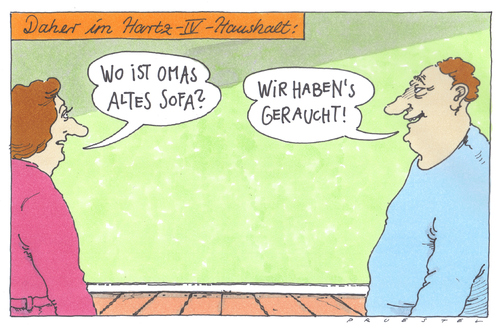 Cartoon: omas sofa (medium) by Andreas Prüstel tagged hartz4,regelsatz,regelsatzerhöhung,tabakgeldherausrechnung,hartz,arbeit,job,arbeitslos,arbeitslosigkeit,tabak,rauchen