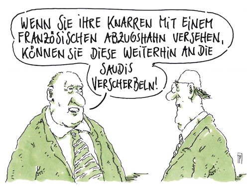 Cartoon: partnerrüstung (medium) by Andreas Prüstel tagged waffenexporte,krisengebiete,embargo,gemeinschaftsprojekte,rüstungsindustrie,saudi,arabien,cartoon,karikatur,andreas,pruestel,waffenexporte,krisengebiete,embargo,gemeinschaftsprojekte,rüstungsindustrie,saudi,arabien,cartoon,karikatur,andreas,pruestel