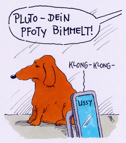 Cartoon: pluto (medium) by Andreas Prüstel tagged hund,pluto,lissy,kommunikation,handy,pfoty,cartoon,karikatur,andreas,pruestel,hund,pluto,lissy,kommunikation,handy,pfoty,cartoon,karikatur,andreas,pruestel