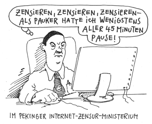 Cartoon: stress (medium) by Andreas Prüstel tagged china,peking,lehrer,zensor,internetzensur,china,peking,lehrer,zensor,internetzensur,internet,google,zensur,web,kontrolle,big brother,angst,zensieren,surfen,informationen,big,brother