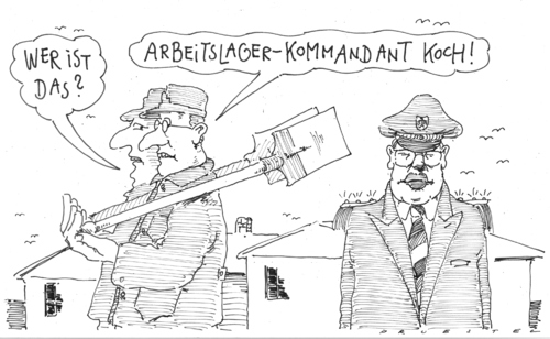 Cartoon: the great disciplinator (medium) by Andreas Prüstel tagged roland,koch,hartz,iv,arbeitszwang,roland koch,hartz,iv,arbeitszwang,arbeit,job,karriere,roland,koch