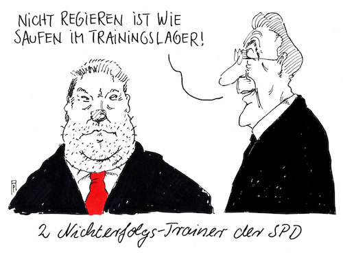 Cartoon: trainingslager (medium) by Andreas Prüstel tagged spd,vorsitzende,beck,müntefering,groko,regierungsbeteiligung,trainingslager,nichterfolgstrainer,cartoon,karikatur,andreas,pruestel,spd,vorsitzende,beck,müntefering,groko,regierungsbeteiligung,trainingslager,nichterfolgstrainer,cartoon,karikatur,andreas,pruestel