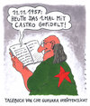 Cartoon: che intim (small) by Andreas Prüstel tagged che guevara fidel castro cuba revolution tagebuch