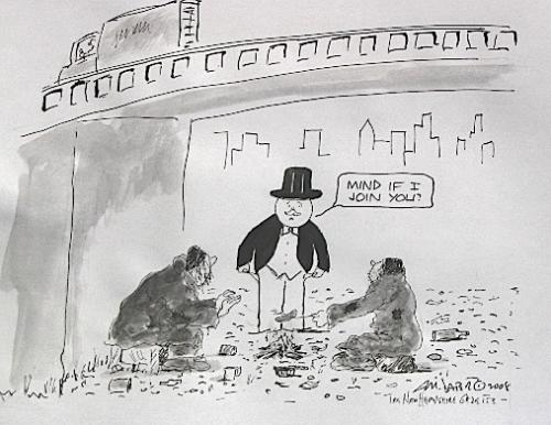Cartoon: Doen and out Monopoly Man (medium) by Mike Dater tagged financial,woe