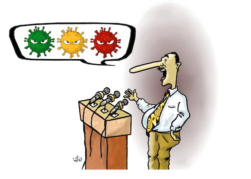 Cartoon: corona virus and liar official (medium) by handren khoshnaw tagged handren,khoshnaw,cartoon,coronavirus,covid19,liar,official,in,charge,traffic,light