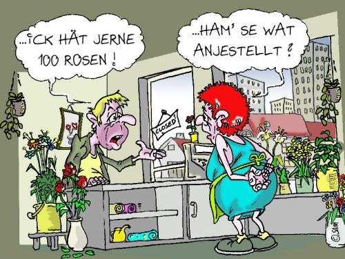 Cartoon: 100 rosen (medium) by sam tagged beziehung,bunt,cartoon,character,frau,mann,home,kinder,man,woman