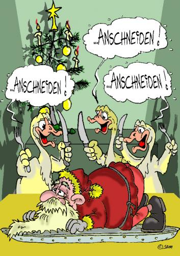 Cartoon: christmas (medium) by sam tagged christmas,weihnachten,essen,character,animals,xmas,bunt