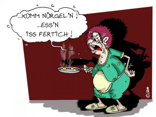 Cartoon: komm nörgeln (medium) by sam tagged beziehung,frau,mann,character,cartoon,hom