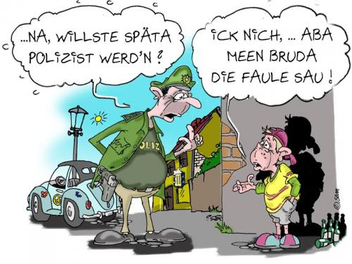 Cartoon: polizei 1 (medium) by sam tagged charackter,catoon,frau,mann,home,beziehung,bunt,woman,man