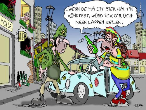 Cartoon: polizei 3 (medium) by sam tagged charackter,catoon,frau,mann,home,beziehung,bunt,woman,man