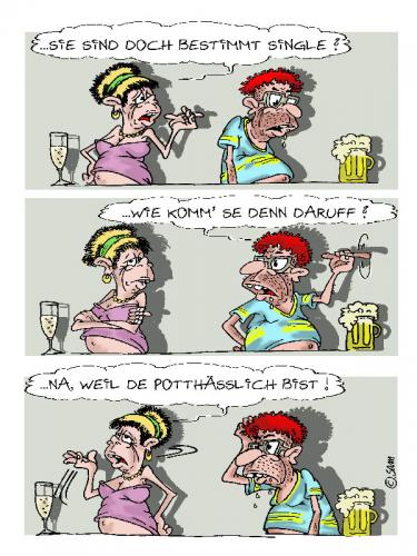 Cartoon: pott hässlich (medium) by sam tagged character,bunt,frau,familie,mann,man,woman,beziehung