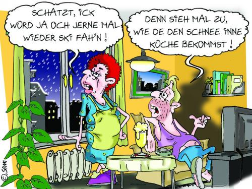Cartoon: schnee in der küche (medium) by sam tagged frau,mann,bunt,lustig,cartoon,sam,woman,character,man,familie,cartoon,cartoons,mann,frau,frauen,männer,ehe,ehepaar,liebe,partnerschaft,beziehung,küche,hausfrau,ski,urlaub,hausarbeit,klischee